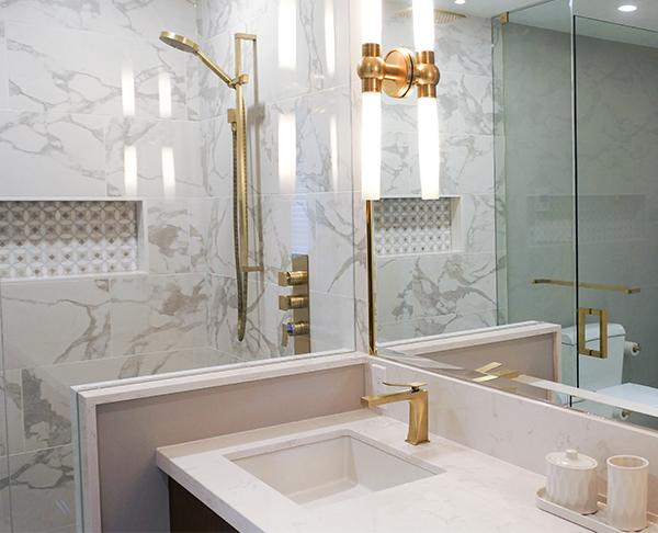 bathroom gold shower