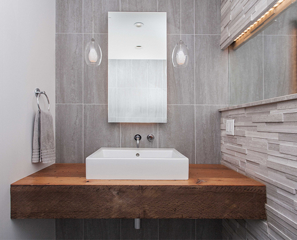 bathroom wood wallmount countertop