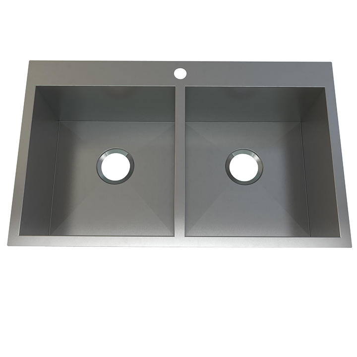 Atelier stainless steel double bowl - flushmount