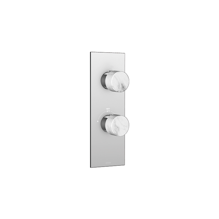 Marmo square trim set for thermostatic valve #12123 2-way shared functions