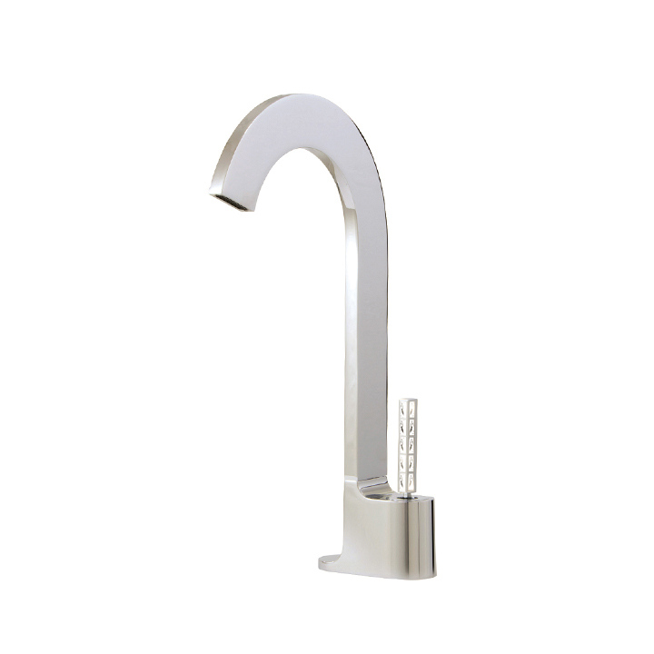 Tall single-hole lavatory faucet with Aquacristal handle