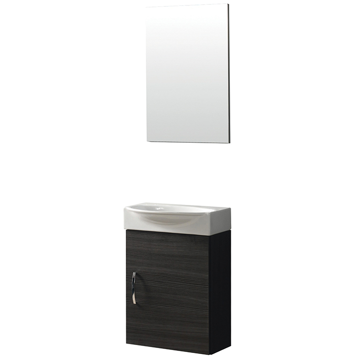 Wallmount vanity with ceramic basin and mirror