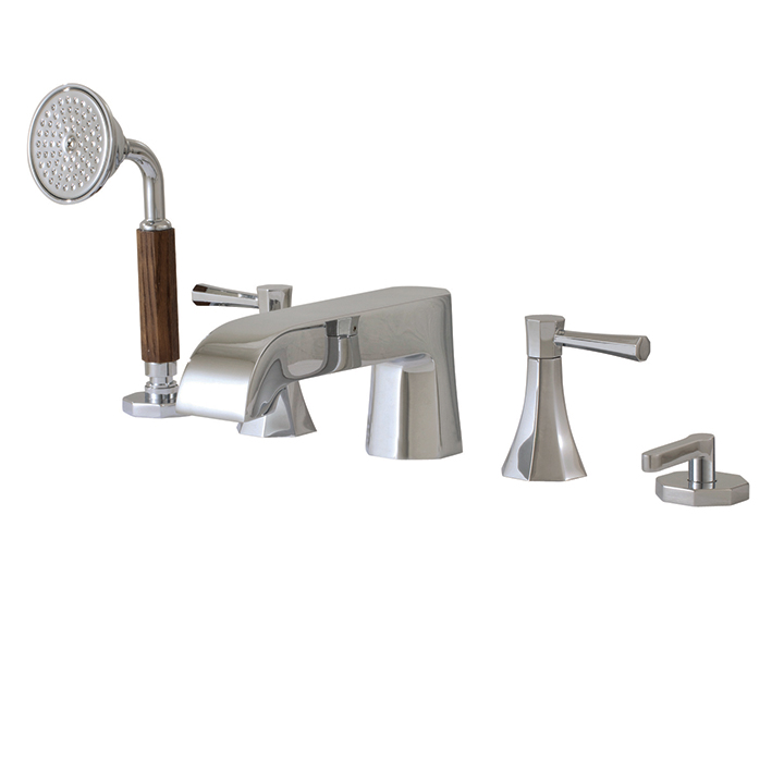 deck mount tub faucet with diverter. 5 Piece Deckmount Tub Filler With Diverter And Handshower Aquabrass