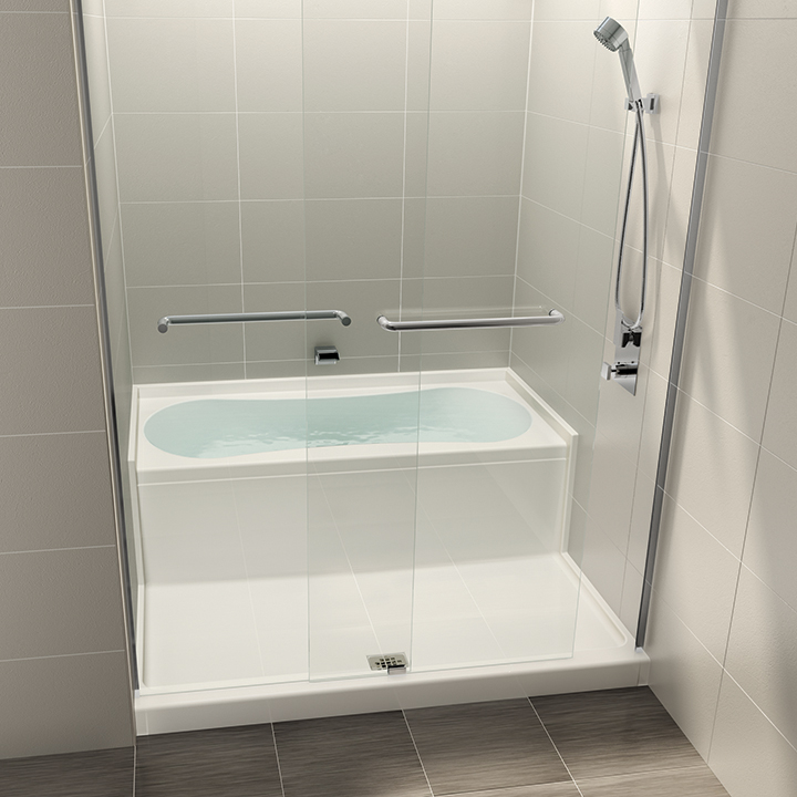 Aquabrass | AQUAZONE - Shower and bath space-saving wet zone