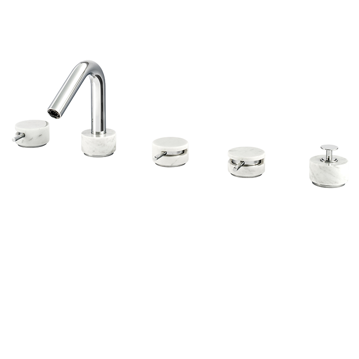 5-piece deckmount tub filler with diverter and handshower