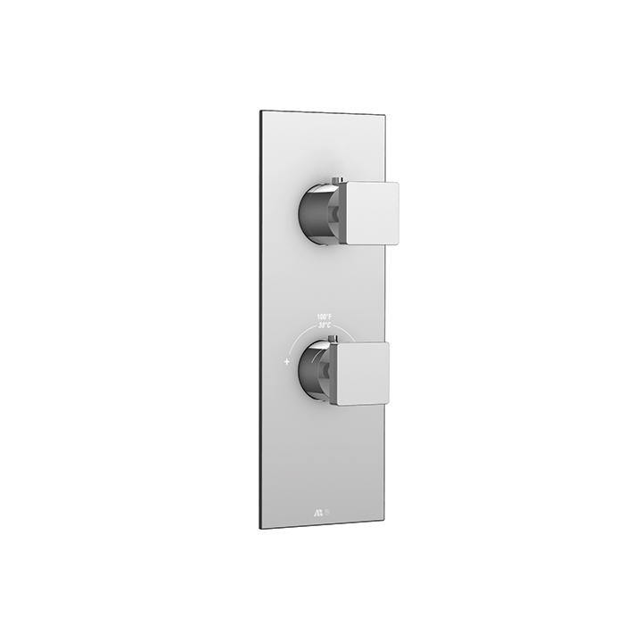 "Square trim set for #12123 1/2"" thermostatic valve, 2-way, shared functions"