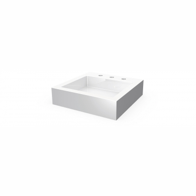 "Lugano square countertop basin - 8"" c.c. (3 holes)"