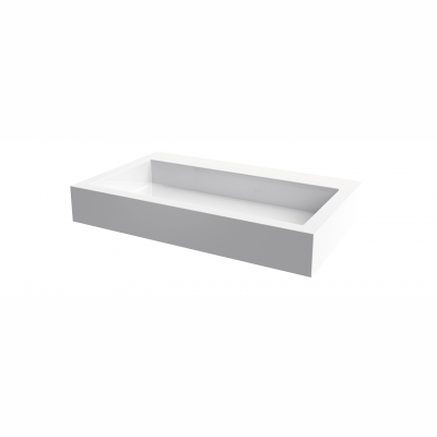Lugano rectangular countertop basin - no hole