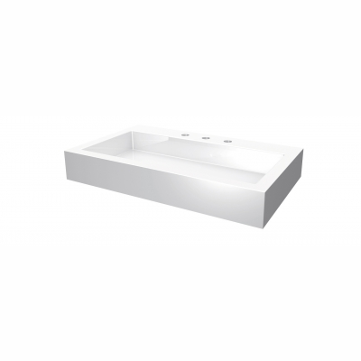"Lugano rectangular countertop basin - 8"" c.c. (3 holes)"