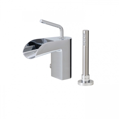 2-piece deckmount tub filler with handshower