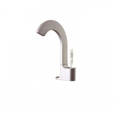 Single-hole lavatory faucet with Aquacristal handle