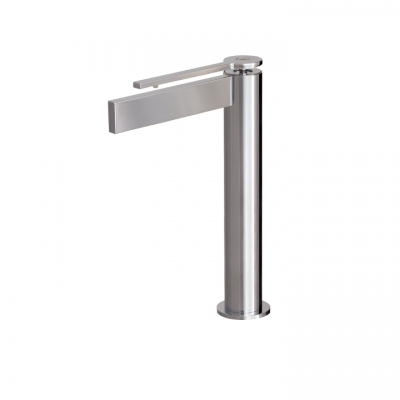 Tall single-hole lavatory faucet with short lever