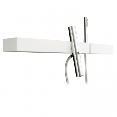 Wallmount tub filler with handshower and shelf