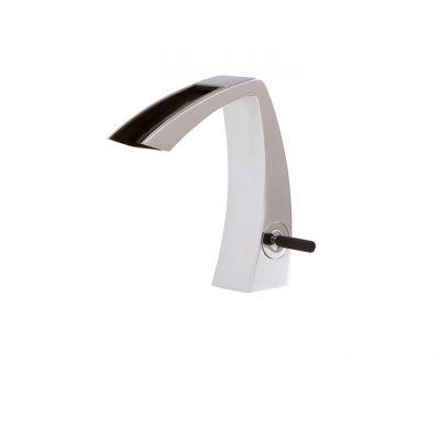 Single-hole lavatory faucet with open spout