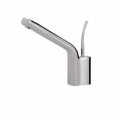 Single-hole lavatory faucet with long spout