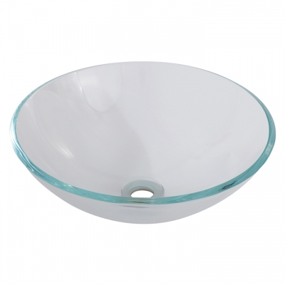 Round crystal clear tempered glass basin