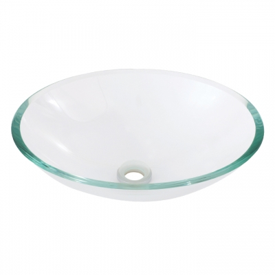 Oval crystal clear tempered glass basin