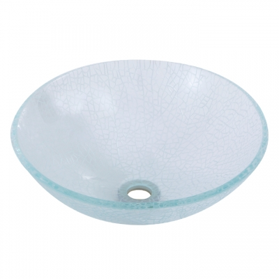 Crackled round crystal clear tempered glass basin