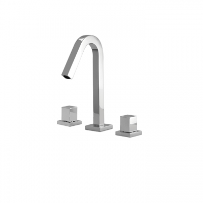 Short widespread lavatory faucet